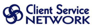 Client Service Network Logo from Randa Clay Design